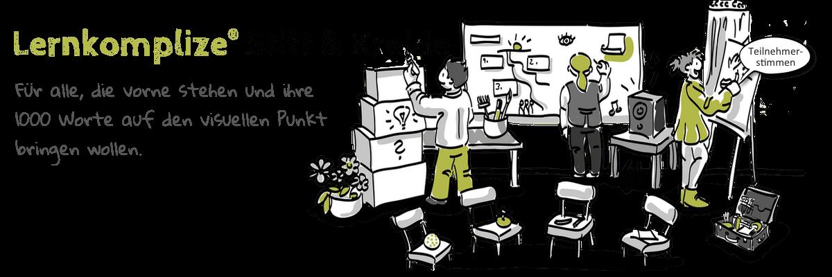 Teilnehmer zeichnen auf Kartons und Papier