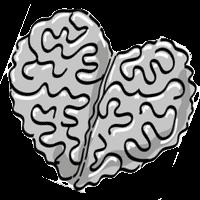 Herz mit einer Gehirnstruktur